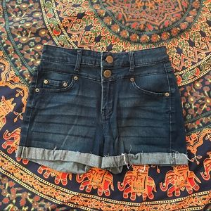 High waisted dark wash jean shorts
